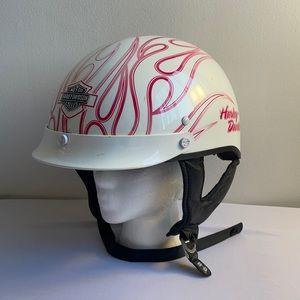 Pink Flamed Harley Davidson Motorcycle Helmet XS